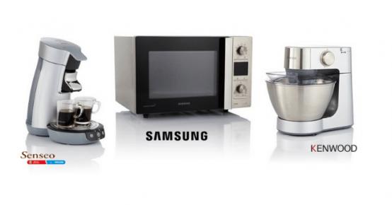 En jeu: 1 cafetière Senseo Silver, 1 four à micro-ondes Samsung et 1 robot de cuisine Kenwood