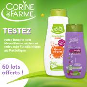 Beauté Test : test de la Douche Soin Peaux Sèches et le soin Toilette Intime au Prébiotique de Corine de Farme