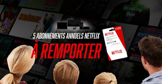 5 abonnements annuels Netflix à remporter